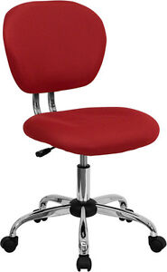 Mid Back Office Desk Chair Red Mesh Upholstery With Chrome Accents