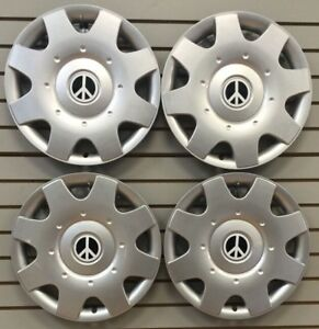 New 1998 2009 Vw Beetle Bug 16 White Peace Sign Hubcaps Wheelcover Set