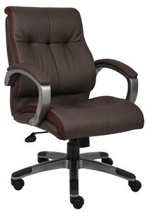 Lot Of 12 Brown Leather Mid Back Conference Room Office Chairs