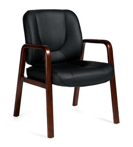 Black Leather Guest Office Desk Chair With Cordovan Finish Wood Accents