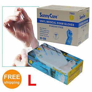 Sunnycare 7603 Powder free Vinyl Medical Exam Gloves latex Free 3g Large