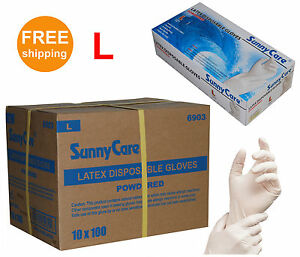 Sunnycare 1000 cs Latex Disposable Gloves Powdered N vinyl Size Large