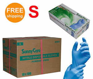 Sunnycare 1000 cs Nitrile Disposable Gloves Powder Free vinyl Free Size Small