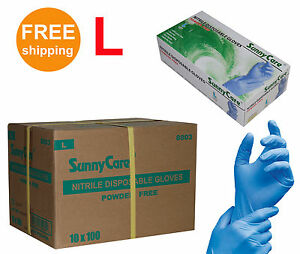 Sunnycare 1000 cs Nitrile Disposable Gloves Powder Free vinyl Free Size Large