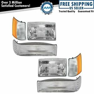 Headlights Parking Corner Lights Left Right Kit Set For 97 98 Grand Cherokee