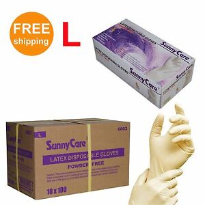 1000 cs Latex Disposable Gloves Powder Free non Vinyl Nitrile Exam Size Large