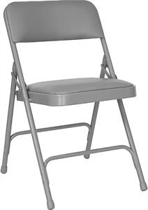 Lot Of 100 Gray Padded Steel Frame Folding Chairs