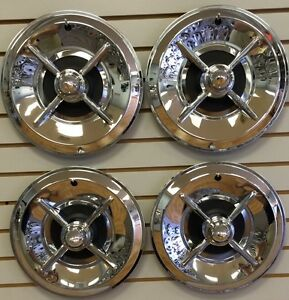 14 Lancer Style Flipper Hot Rod Custom Chrome Hubcaps Wheelcover Set