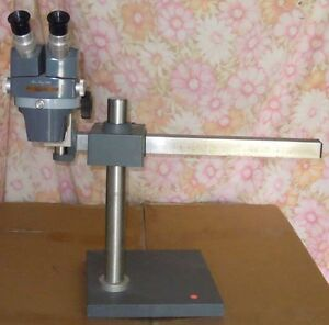 American Optical Stereo Zoom Microscope With Heavy Boom Stand
