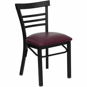 Lot Of 10 Metal Restaurant Chairs Deluxe Ladder Back With Burgundy Seat