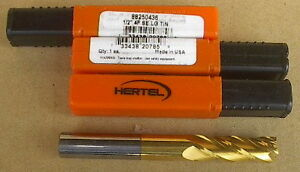 Hertel 1 2 X 4 Usa 4 Flute Solid Carbide Tin Single End Square End Mill New