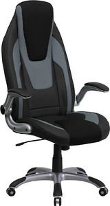 High Back Black Gray Vinyl Executive Office Chair With Black Mesh Insets