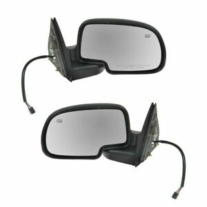 Side View Mirrors Power Heated W puddle Gloss Black Lh rh Pair Set For Chevy Gmc