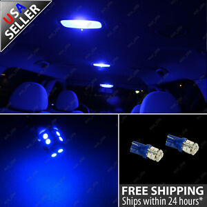 2x Interior Dome Map 10 Smd Blue Led Light Bulb T10 Wedge 912 W5w 2825 194