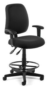 Black Fabric Computer Drafting Office Stool Chair