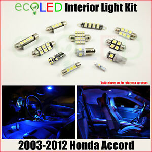 Fits 2003 2012 Honda Accord Sedan Coupe Blue Led Interior Light Package Kit 8 Pc