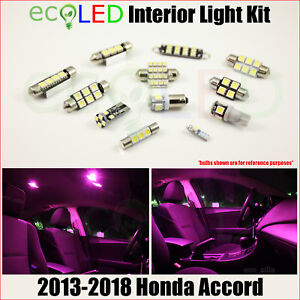 For 2013 2018 Honda Accord Pink Interior Led Light Accessories Package Kit 12 Pc