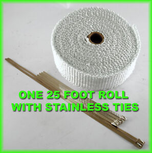 Exhaust Heat Header Pipe Wrap Roll Stainless Ties 1 8 x 2 X 25 Ft White Thick