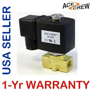 1 4 Inch 24v Ac Brass Electric Solenoid Valve Npt Gas Water Air Normally Closed