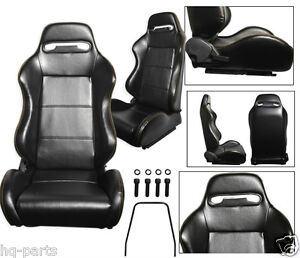 Pair Black Pvc Leather Yellow Stitch Reclinable Racing Seats Fit Bmw Sliders