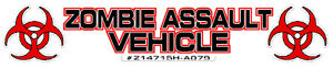 Zombie Assault Vehicle Outbreak Response Team Car Decal Sticker 8 5 X 1 5