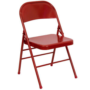 Lot Of 4 Heavy Duty Red Metal Folding Chairs