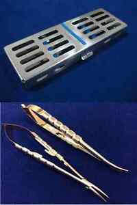 2 T c Castroviejo Needle Holder Straight curved 6 With Sterilization Cassette