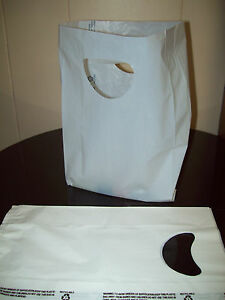 100 Bags 7 X 3 X 12 White Plastic Merchandise Bags With Handles New