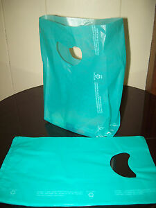 100 Bags 7 X 3 X 12 Teal Plastic Merchandise Bags With Handles New