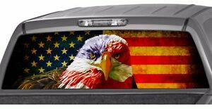 American Eagle Flag Banner Rear Window Graphic Decal Tint Sticker Truck Suv Jeep