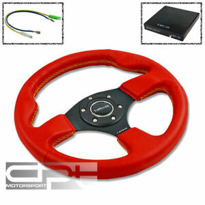 Nrg 320mm 6 Hole Racing Steering Wheel Jdm Red Leather Yellow Stitch Horn Button