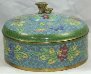 1920 S Antique Chinese Foo Dog Covered Powder Jar In Perfect Condition