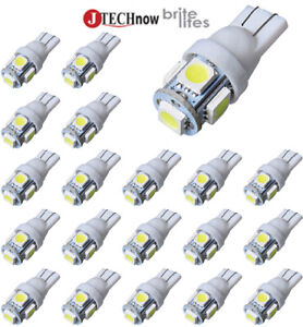 Jtech 20x T10 5 Smd Led White Car Lights Bulb Mfd By Newest Chipset Technology