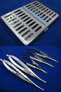 5 Castroviejo Micro Surgery Needle Holders Curved W Sterilization Cassette Box