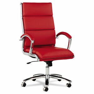 High Back Red Leather Office Chair With Padded Arms