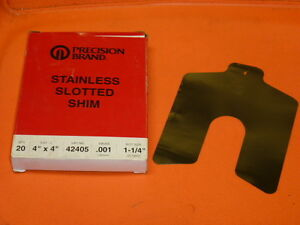 Nos Precision Brand Stainless Slotted Shim Box Of 20 4 X 4 001 Ga 42405