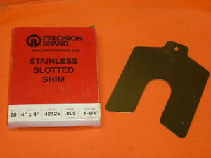 Nos Precision Brand Stainless Slotted Shim Box Of 20 4 X 4 005 Ga 42425