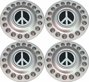 1998 2005 Vw Beetle Bug Wheel Hub Center Cap Set With Chrome Peace Sign New