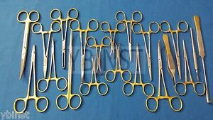 Set Of 20 Pcs Gold Handle T c Feline Spay Pack Surgical Instruments Kit