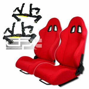 X2 Jdm Red Cloth Reclinable Bucket Racing Seat Sliders 4 Point Buckle Black Belt