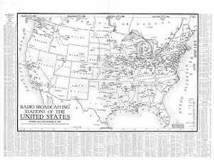 1924 Radio Station Map West Palm Beach Miami Fl Memphis Lawrenceburg Tn Its Huge
