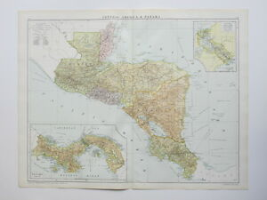 1920 Map Honduras Nicaragua El Salvador Panama Costa Rica Large Colour Map Gross