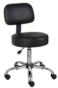 Black Ergonomic Medical Doctor Office Stool With Chrome Base And Back Support