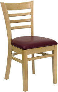 Wood Frame Natural Finish Ladder Back Restaurant Chair Burgundy Vinyl Seat