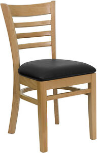 Wood Frame Natural Finish Ladder Back Restaurant Chair W Black Vinyl Seat