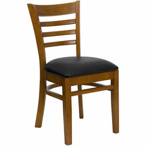 Wood Frame Cherry Finish Ladder Back Restaurant Chair W Black Vinyl Seat