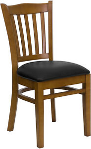 Cherry Wood Frame Vertical Slat Back Restaurant Chair With Black Vinyl Seat