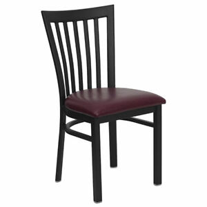 Metal School House Back Restaurant Chair With Burgundy Vinyl Seat