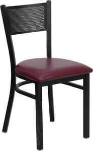 Lot Of 20 Metal Perforated Restaurant Chairs With Burgundy Vinyl Seat