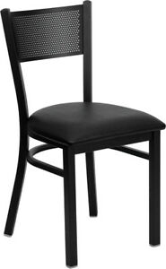 Metal Perforated Back Restaurant Chair With Black Vinyl Seat